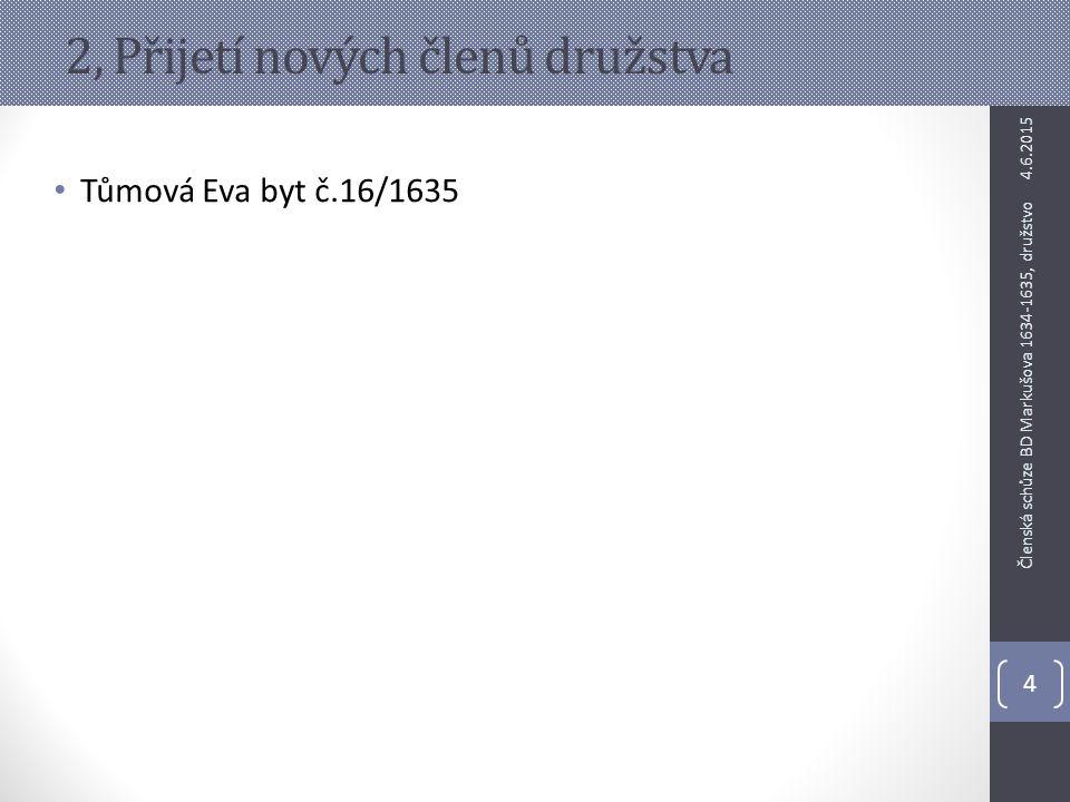 2, Přijetí nových členů družstva Tůmová Eva byt č.16/1635 4.6.2015 4 Členská schůze BD Markušova 1634-1635, družstvo
