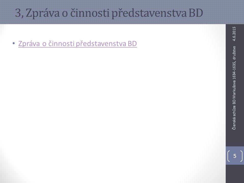 3, Zpráva o činnosti představenstva BD Zpráva o činnosti představenstva BD 4.6.2015 5 Členská schůze BD Markušova 1634-1635, družstvo