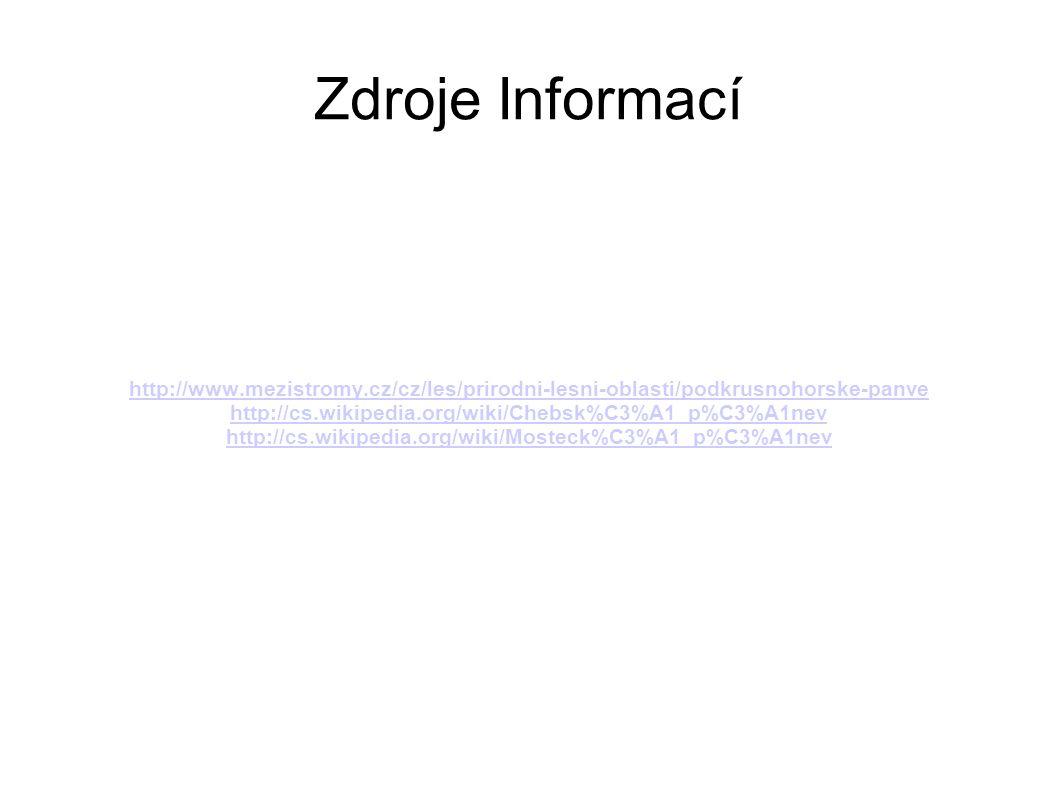 Zdroje Informací http://www.mezistromy.cz/cz/les/prirodni-lesni-oblasti/podkrusnohorske-panve http://cs.wikipedia.org/wiki/Chebsk%C3%A1_p%C3%A1nev htt
