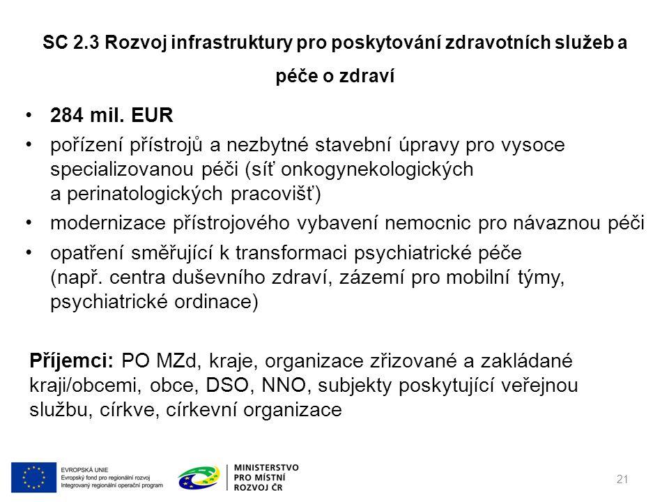 284 mil. EUR pořízení přístrojů a nezbytné stavební úpravy pro vysoce specializovanou péči (síť onkogynekologických a perinatologických pracovišť) mod