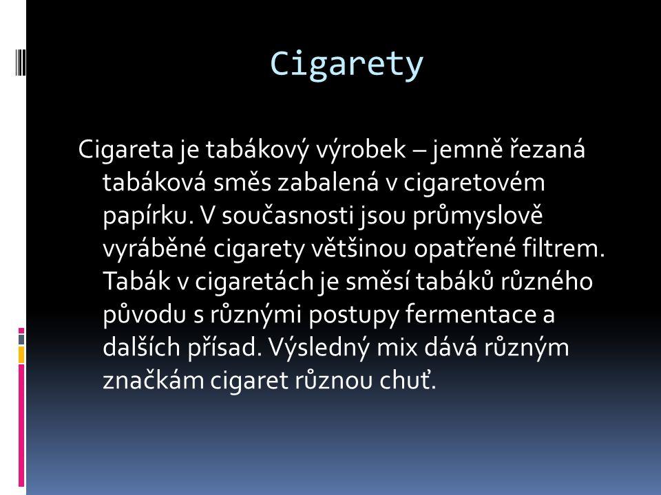 Cigarety Cigareta je tabákový výrobek – jemně řezaná tabáková směs zabalená v cigaretovém papírku. V současnosti jsou průmyslově vyráběné cigarety vět