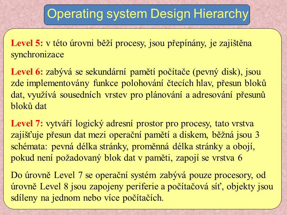 Operating system Design Hierarchy Level 5: v této úrovni běží procesy, jsou přepínány, je zajištěna synchronizace Level 6: zabývá se sekundární pamětí