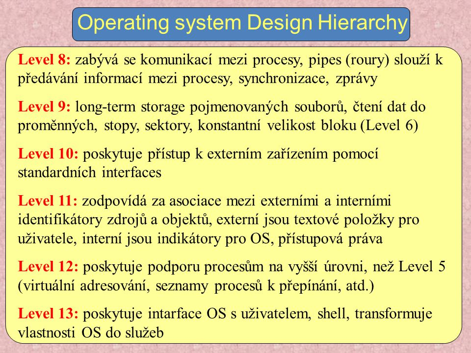P1P1 OS 1 kernel...Vztah mezi operačním systémem a procesy process switching functions...
