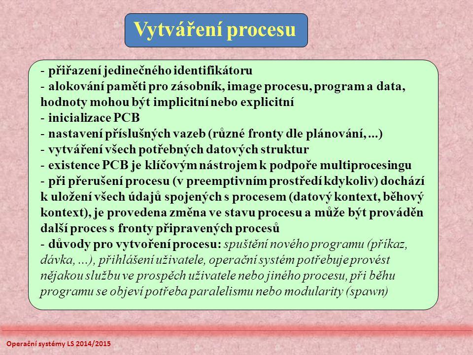 Operační systémy LS 2014/2015 Vytváření procesu - přiřazení jedinečného identifikátoru - alokování paměti pro zásobník, image procesu, program a data,