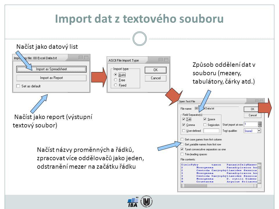Import dat z textového souboru Načíst jako datový list Načíst jako report (výstupní textový soubor) Způsob oddělení dat v souboru (mezery, tabulátory, čárky atd.) Načíst názvy proměnných a řádků, zpracovat více oddělovačů jako jeden, odstranění mezer na začátku řádku