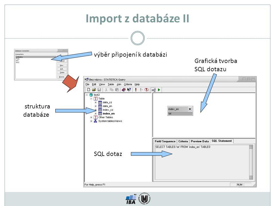 Import z databáze II výběr připojení k databázi struktura databáze SQL dotaz Grafická tvorba SQL dotazu