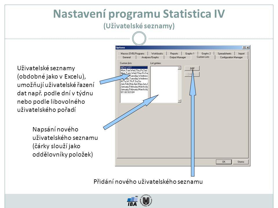 Nastavení programu Statistica IV (Uživatelské seznamy) Uživatelské seznamy (obdobné jako v Excelu), umožňují uživatelské řazení dat např. podle dní v