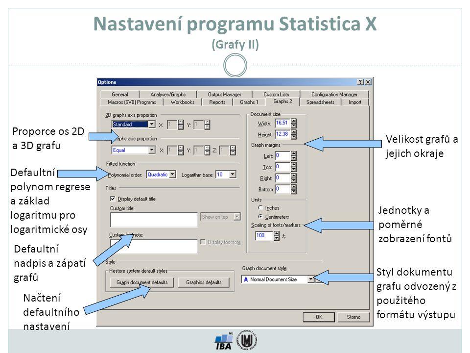 Nastavení programu Statistica X (Grafy II) Proporce os 2D a 3D grafu Velikost grafů a jejich okraje Jednotky a poměrné zobrazení fontů Styl dokumentu grafu odvozený z použitého formátu výstupu Načtení defaultního nastavení Defaultní polynom regrese a základ logaritmu pro logaritmické osy Defaultní nadpis a zápatí grafů