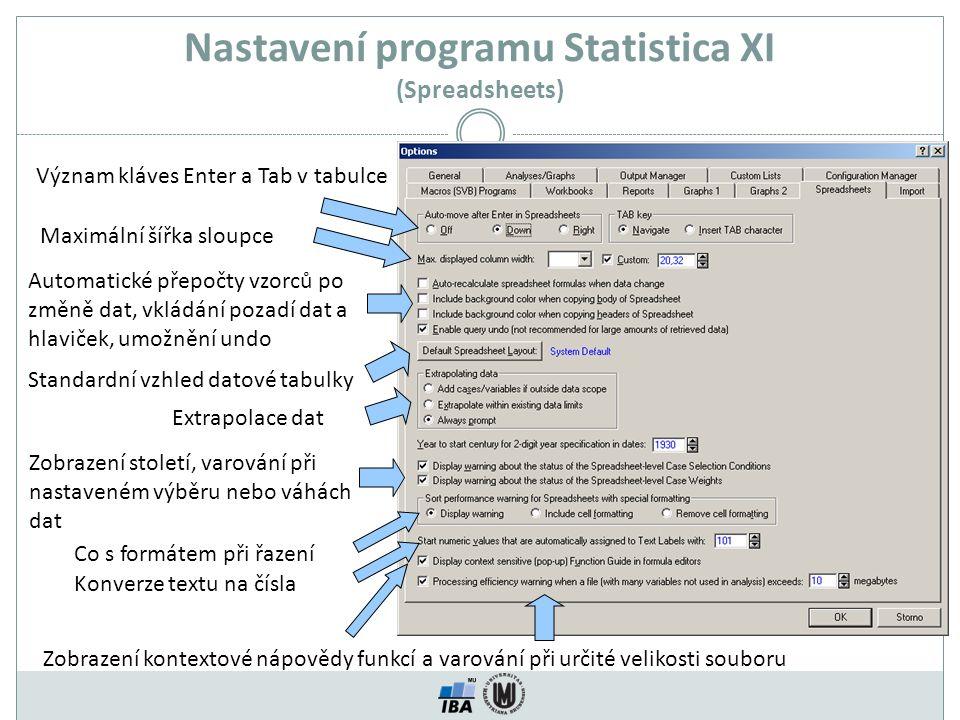 Nastavení programu Statistica XI (Spreadsheets) Význam kláves Enter a Tab v tabulce Maximální šířka sloupce Automatické přepočty vzorců po změně dat,