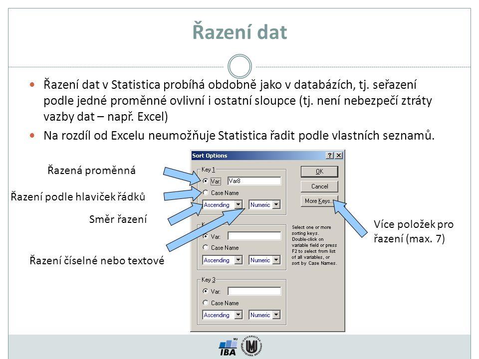 Řazení dat Řazení dat v Statistica probíhá obdobně jako v databázích, tj. seřazení podle jedné proměnné ovlivní i ostatní sloupce (tj. není nebezpečí