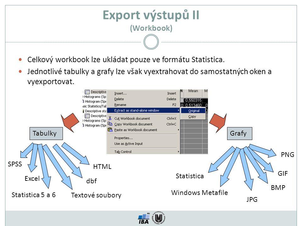 Export výstupů II (Workbook) Celkový workbook lze ukládat pouze ve formátu Statistica. Jednotlivé tabulky a grafy lze však vyextrahovat do samostatnýc