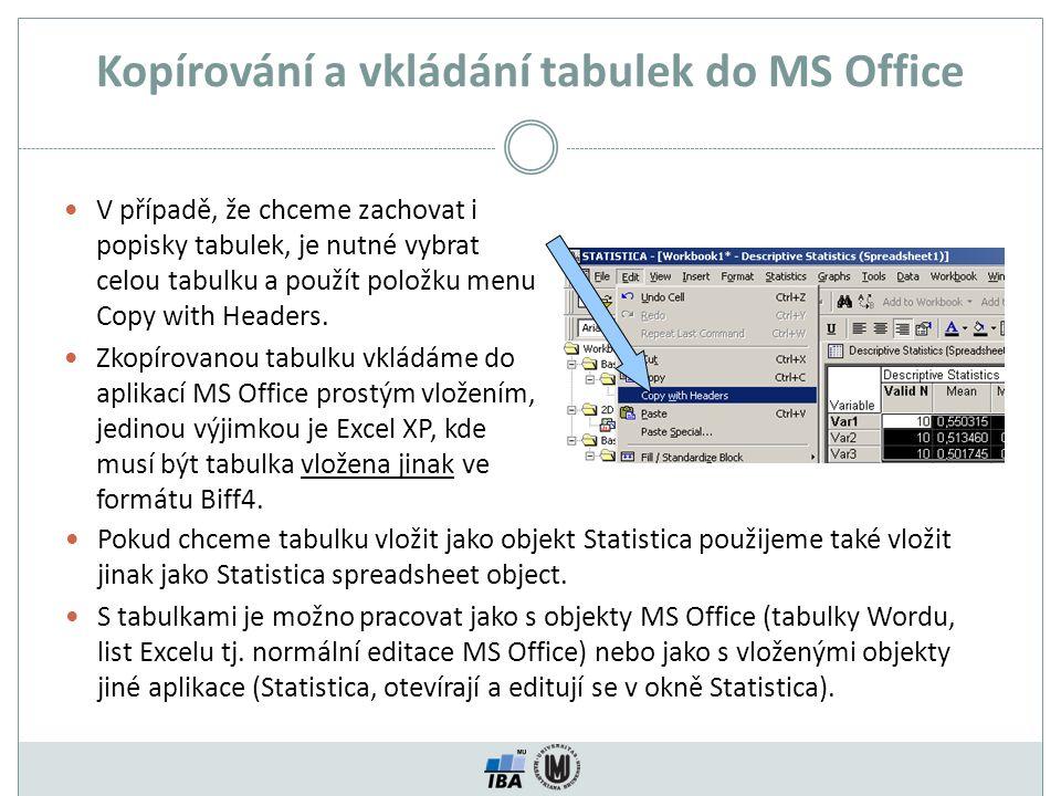 Kopírování a vkládání tabulek do MS Office V případě, že chceme zachovat i popisky tabulek, je nutné vybrat celou tabulku a použít položku menu Copy w