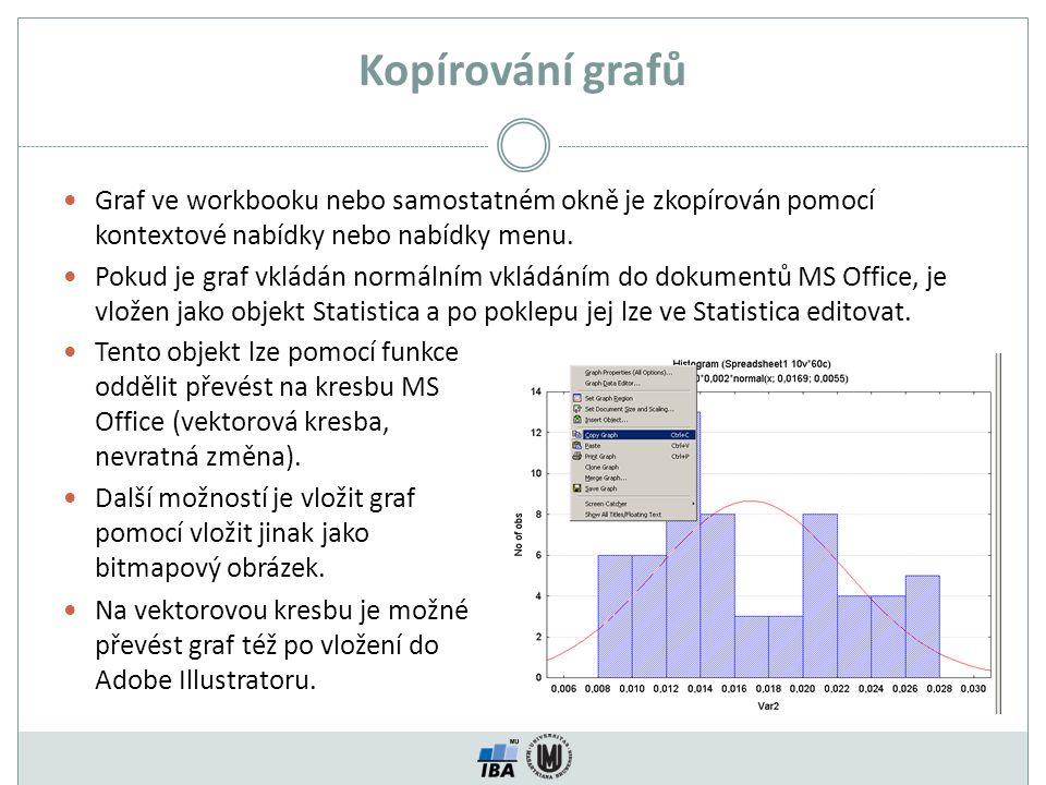 Kopírování grafů Graf ve workbooku nebo samostatném okně je zkopírován pomocí kontextové nabídky nebo nabídky menu. Pokud je graf vkládán normálním vk