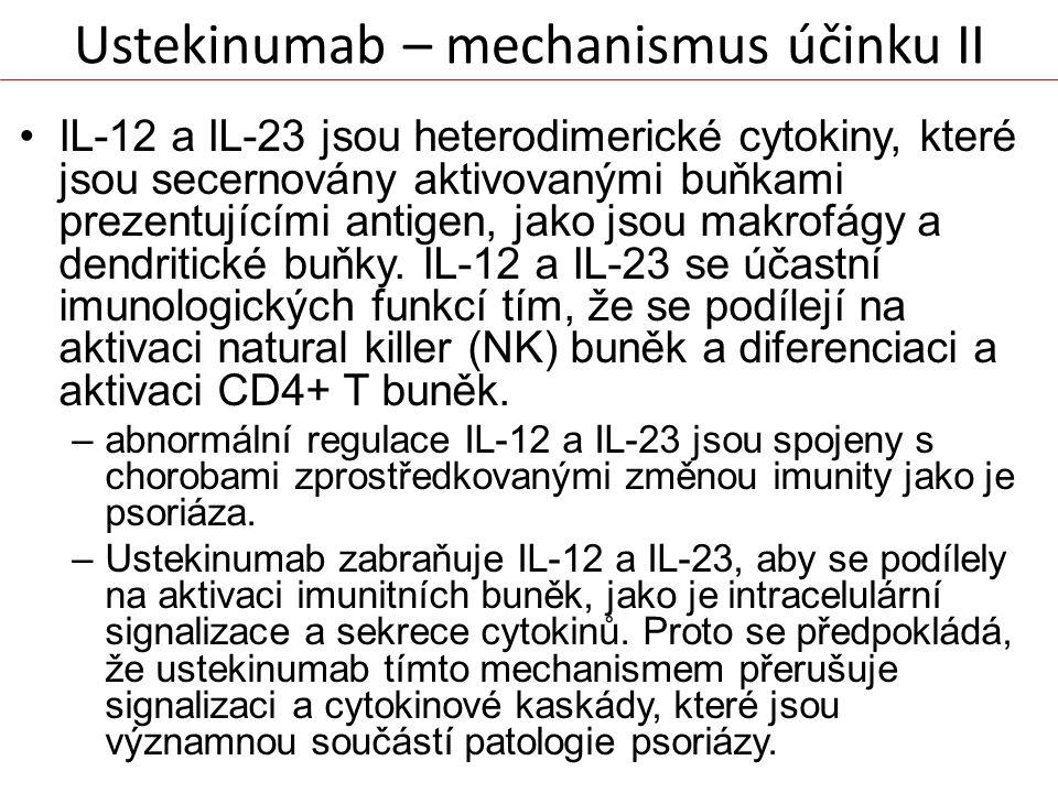Ustekinumab – mechanismus účinku II IL-12 a IL-23 jsou heterodimerické cytokiny, které jsou secernovány aktivovanými buňkami prezentujícími antigen, j
