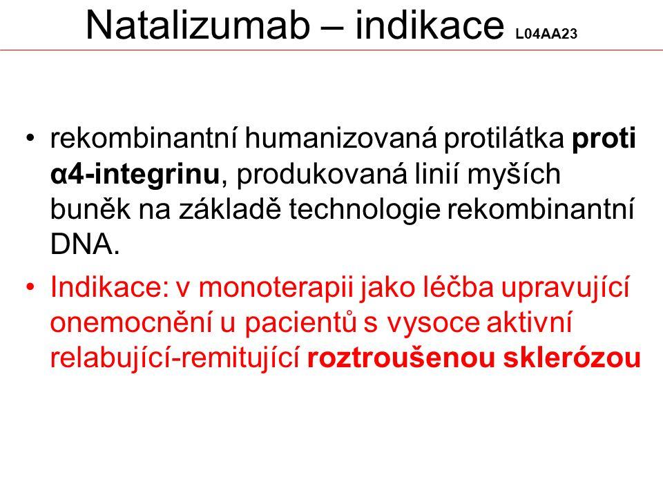 Natalizumab – indikace L04AA23 rekombinantní humanizovaná protilátka proti α4-integrinu, produkovaná linií myších buněk na základě technologie rekombi