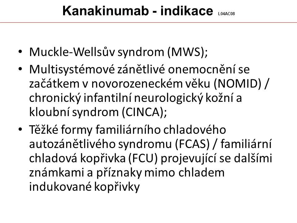 Kanakinumab - indikace L04AC08 Muckle-Wellsův syndrom (MWS); Multisystémové zánětlivé onemocnění se začátkem v novorozeneckém věku (NOMID) / chronický