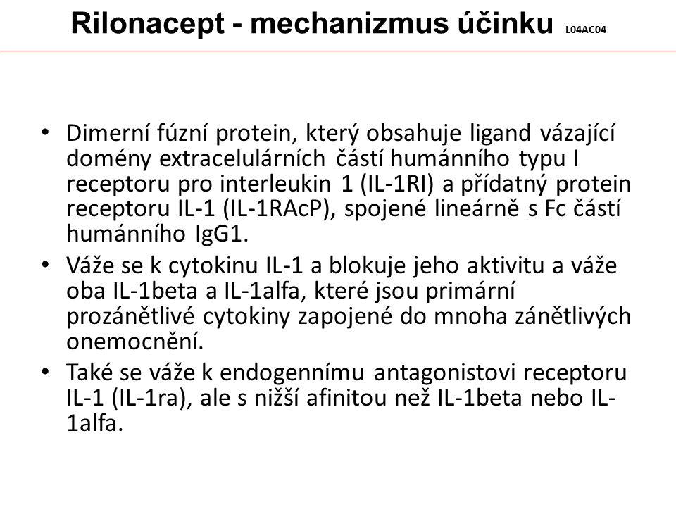 Rilonacept - mechanizmus účinku L04AC04 Dimerní fúzní protein, který obsahuje ligand vázající domény extracelulárních částí humánního typu I receptoru