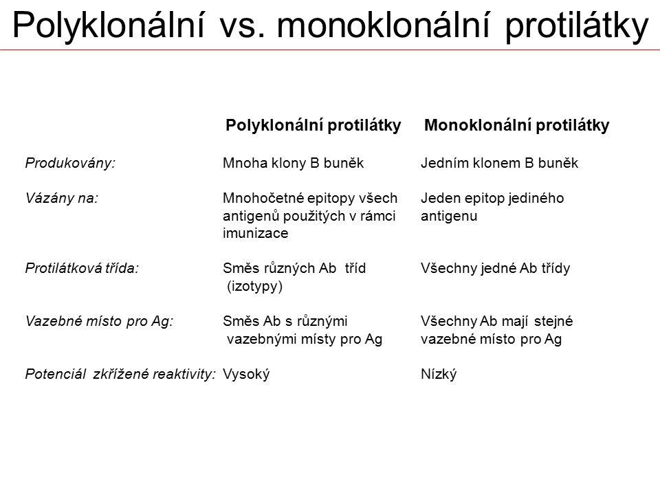 Polyklonální protilátky Monoklonální protilátky Produkovány:Mnoha klony B buněkJedním klonem B buněk Vázány na: Mnohočetné epitopy všechJeden epitop j