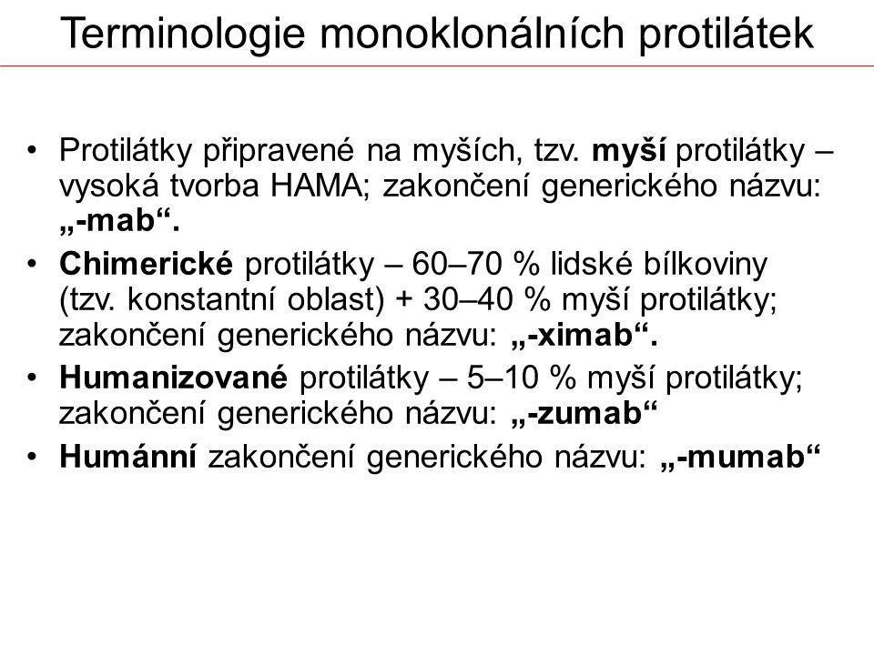 """Terminologie monoklonálních protilátek Protilátky připravené na myších, tzv. myší protilátky – vysoká tvorba HAMA; zakončení generického názvu: """"-mab"""""""
