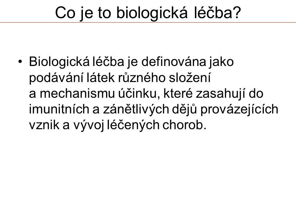 Co je to biologická léčba? Biologická léčba je definována jako podávání látek různého složení a mechanismu účinku, které zasahují do imunitních a záně