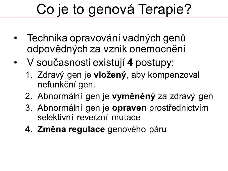 Co je to genová Terapie? Technika opravování vadných genů odpovědných za vznik onemocnění V současnosti existují 4 postupy: 1.Zdravý gen je vložený, a