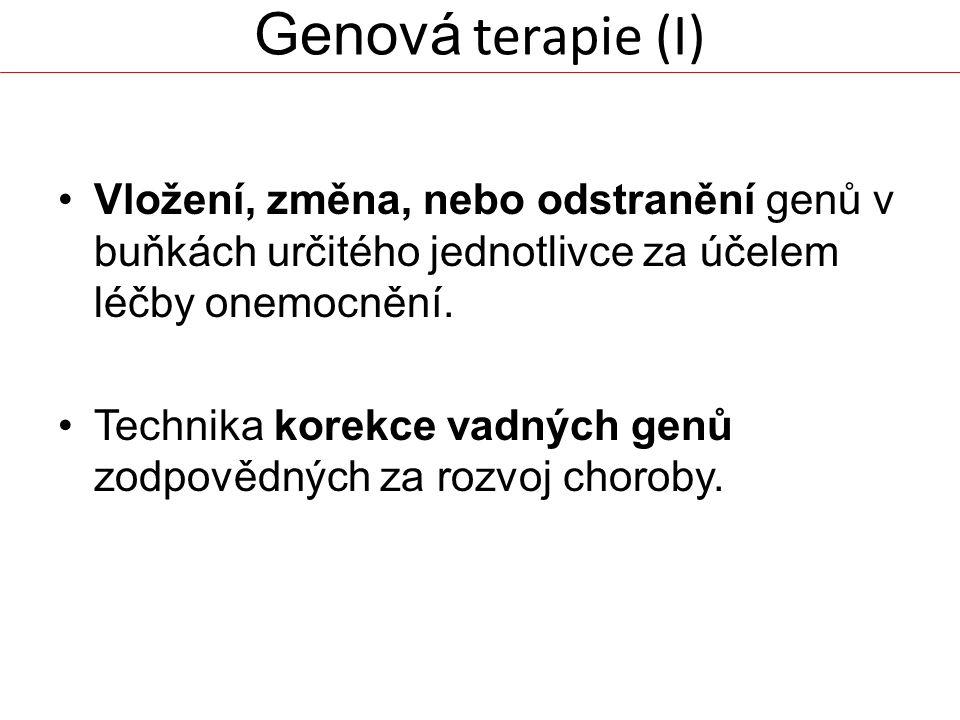 Genová terapie (I) Vložení, změna, nebo odstranění genů v buňkách určitého jednotlivce za účelem léčby onemocnění. Technika korekce vadných genů zodpo