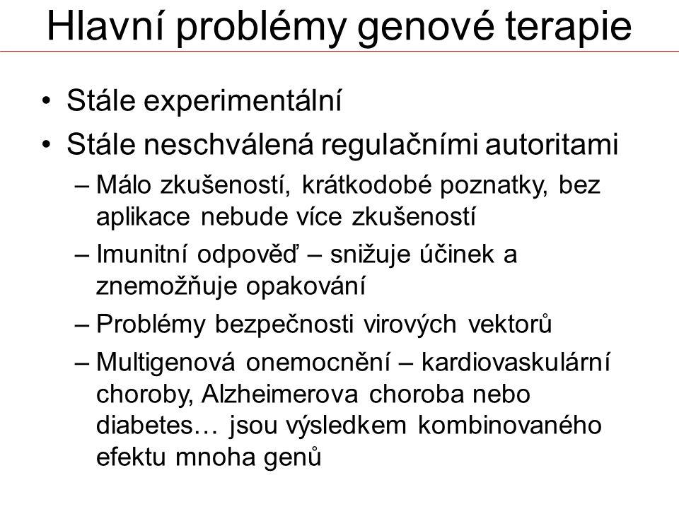 Hlavní problémy genové terapie Stále experimentální Stále neschválená regulačními autoritami –Málo zkušeností, krátkodobé poznatky, bez aplikace nebud