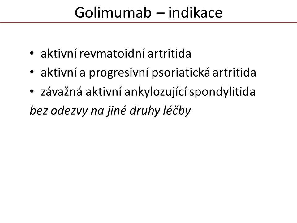 Golimumab – indikace aktivní revmatoidní artritida aktivní a progresivní psoriatická artritida závažná aktivní ankylozující spondylitida bez odezvy na