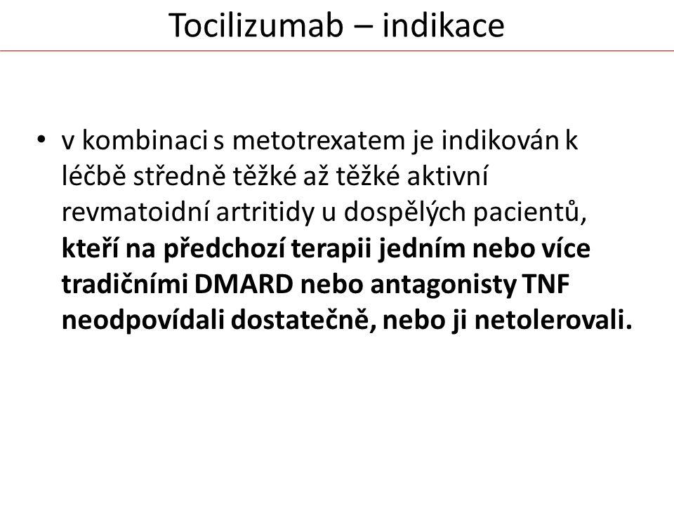 Tocilizumab – indikace v kombinaci s metotrexatem je indikován k léčbě středně těžké až těžké aktivní revmatoidní artritidy u dospělých pacientů, kteř