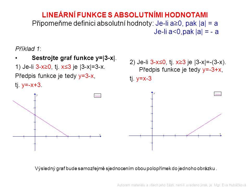 LINEÁRNÍ FUNKCE S ABSOLUTNÍMI HODNOTAMI Připomeňme definici absolutní hodnoty: Je-li a≥0, pak |a| = a Je-li a<0,pak |a| = - a Příklad 1: Sestrojte graf funkce y=|3-x|.