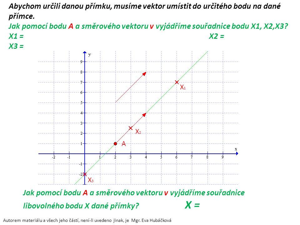 Abychom určili danou přímku, musíme vektor umístit do určitého bodu na dané přímce. Jak pomocí bodu A a směrového vektoru v vyjádříme souřadnice bodu