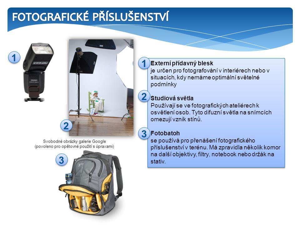Externí přídavný blesk je určen pro fotografování v interiérech nebo v situacích, kdy nemáme optimální světelné podmínky Studiová světla Používají se ve fotografických ateliérech k osvětlení osob.