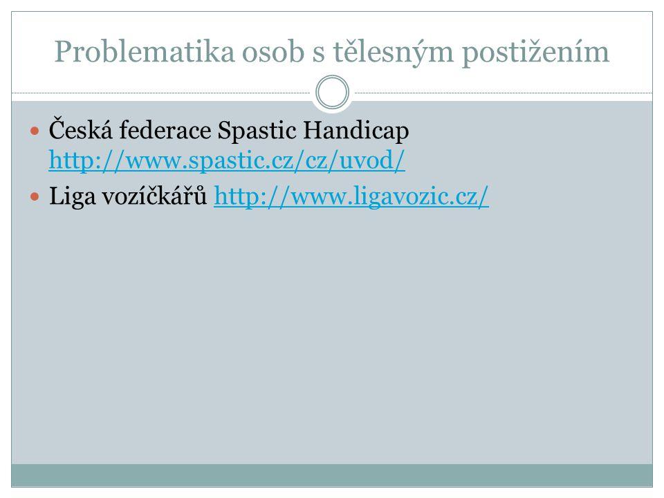 Problematika osob s tělesným postižením Česká federace Spastic Handicap http://www.spastic.cz/cz/uvod/ http://www.spastic.cz/cz/uvod/ Liga vozíčkářů h