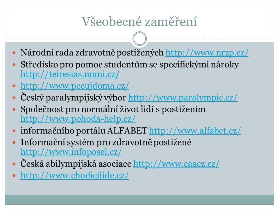 Všeobecné zaměření Národní rada zdravotně postižených http://www.nrzp.cz/http://www.nrzp.cz/ Středisko pro pomoc studentům se specifickými nároky http://teiresias.muni.cz/ http://teiresias.muni.cz/ http://www.pecujdoma.cz/ Český paralympijský výbor http://www.paralympic.cz/http://www.paralympic.cz/ Společnost pro normální život lidí s postižením http://www.pohoda-help.cz/ http://www.pohoda-help.cz/ informačního portálu ALFABET http://www.alfabet.cz/http://www.alfabet.cz/ Informační systém pro zdravotně postižené http://www.infoposel.cz/ http://www.infoposel.cz/ Česká abilympijská asociace http://www.caacz.cz/http://www.caacz.cz/ http://www.chodicilide.cz/
