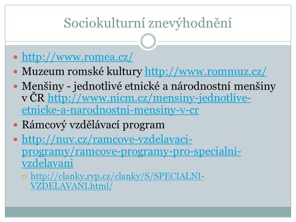 Sociokulturní znevýhodnění http://www.romea.cz/ Muzeum romské kultury http://www.rommuz.cz/http://www.rommuz.cz/ Menšiny - jednotlivé etnické a národnostní menšiny v ČR http://www.nicm.cz/mensiny-jednotlive- etnicke-a-narodnostni-mensiny-v-crhttp://www.nicm.cz/mensiny-jednotlive- etnicke-a-narodnostni-mensiny-v-cr Rámcový vzdělávací program http://nuv.cz/ramcove-vzdelavaci- programy/ramcove-programy-pro-specialni- vzdelavani http://nuv.cz/ramcove-vzdelavaci- programy/ramcove-programy-pro-specialni- vzdelavani  http://clanky.rvp.cz/clanky/S/SPECIALNI- VZDELAVANI.html/ http://clanky.rvp.cz/clanky/S/SPECIALNI- VZDELAVANI.html/