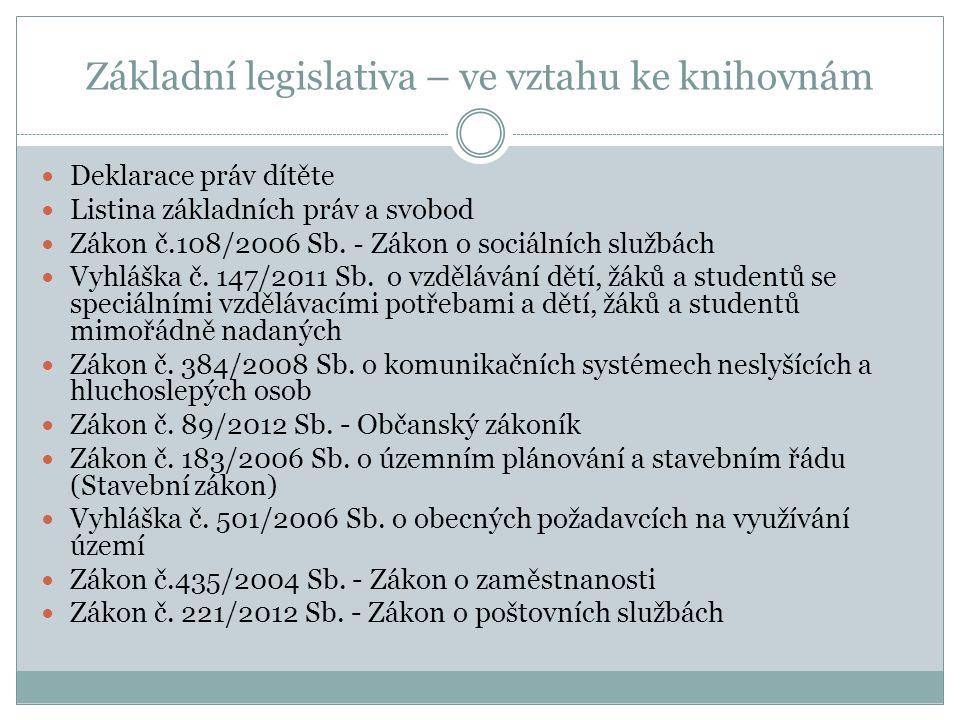 Základní legislativa – ve vztahu ke knihovnám Deklarace práv dítěte Listina základních práv a svobod Zákon č.108/2006 Sb. - Zákon o sociálních službác