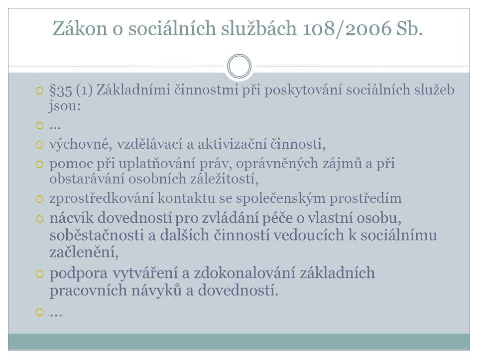 Zákon o sociálních službách 108/2006 Sb.  §35 (1) Základními činnostmi při poskytování sociálních služeb jsou:  …  výchovné, vzdělávací a aktivizač