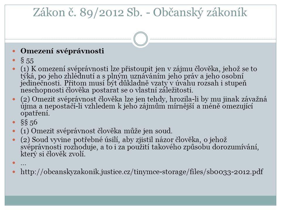 Zákon č. 89/2012 Sb. - Občanský zákoník Omezení svéprávnosti § 55 (1) K omezení svéprávnosti lze přistoupit jen v zájmu člověka, jehož se to týká, po