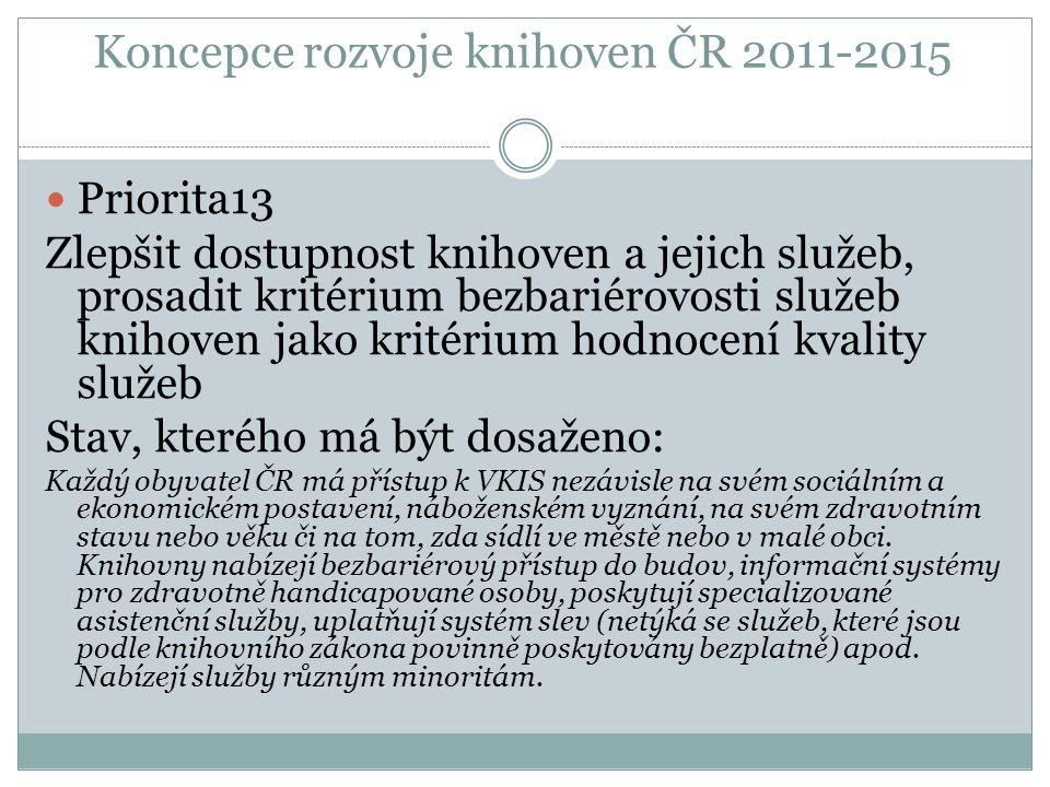 Koncepce rozvoje knihoven ČR 2011-2015 Priorita13 Zlepšit dostupnost knihoven a jejich služeb, prosadit kritérium bezbariérovosti služeb knihoven jako kritérium hodnocení kvality služeb Stav, kterého má být dosaženo: Každý obyvatel ČR má přístup k VKIS nezávisle na svém sociálním a ekonomickém postavení, náboženském vyznání, na svém zdravotním stavu nebo věku či na tom, zda sídlí ve městě nebo v malé obci.