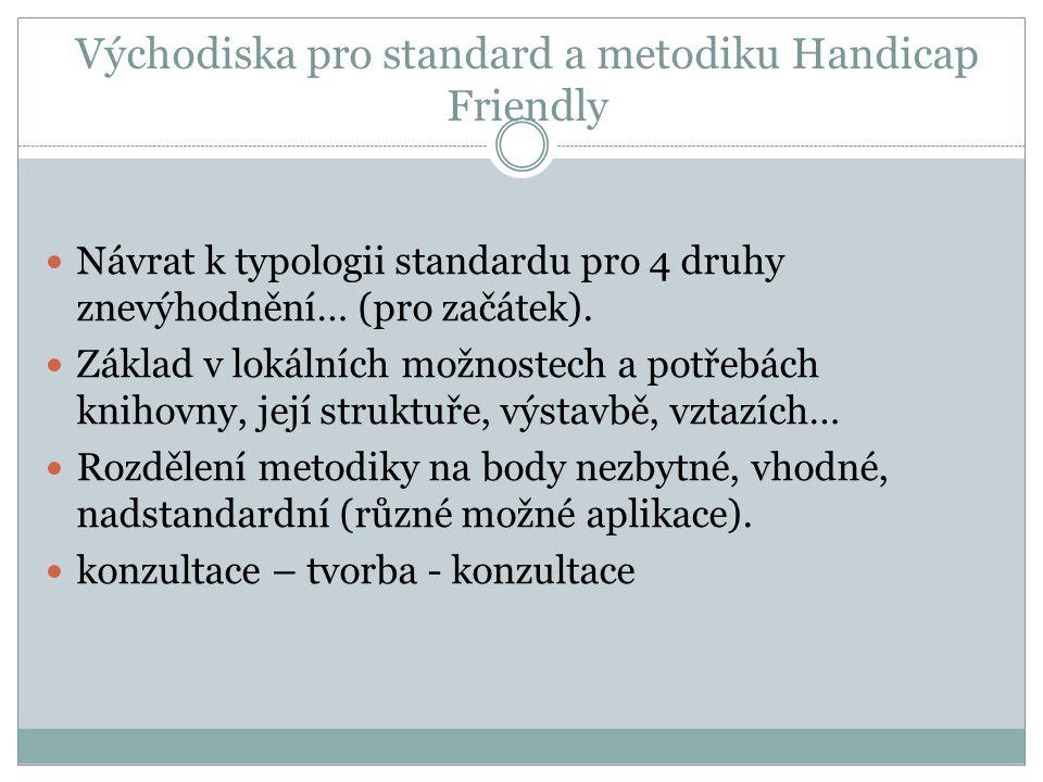 Východiska pro standard a metodiku Handicap Friendly Návrat k typologii standardu pro 4 druhy znevýhodnění… (pro začátek). Základ v lokálních možnoste