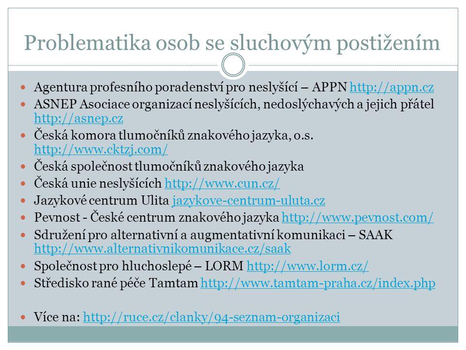 Problematika osob se zrakovým postižením Sjednocená organizace nevidomých a slabozrakých ČR http://www.braillnet.cz/, http://www.sons.cz/http://www.braillnet.cz/http://www.sons.cz/ Rozcestník společností poskytujících služby zrakově postiženým v jednotlivých krajích http://www.tyflocentrum.cz/ http://www.tyflocentrum.cz/ Rehabilitace nevidomých a slabozrakých http://www.tyfloservis.cz/ http://www.tyfloservis.cz/ Středisko výcviku vodících psů SONS http://www.vodicipsi.cz/ http://www.vodicipsi.cz/ Projekt Bílá pastelka http://www.bilapastelka.cz/http://www.bilapastelka.cz/