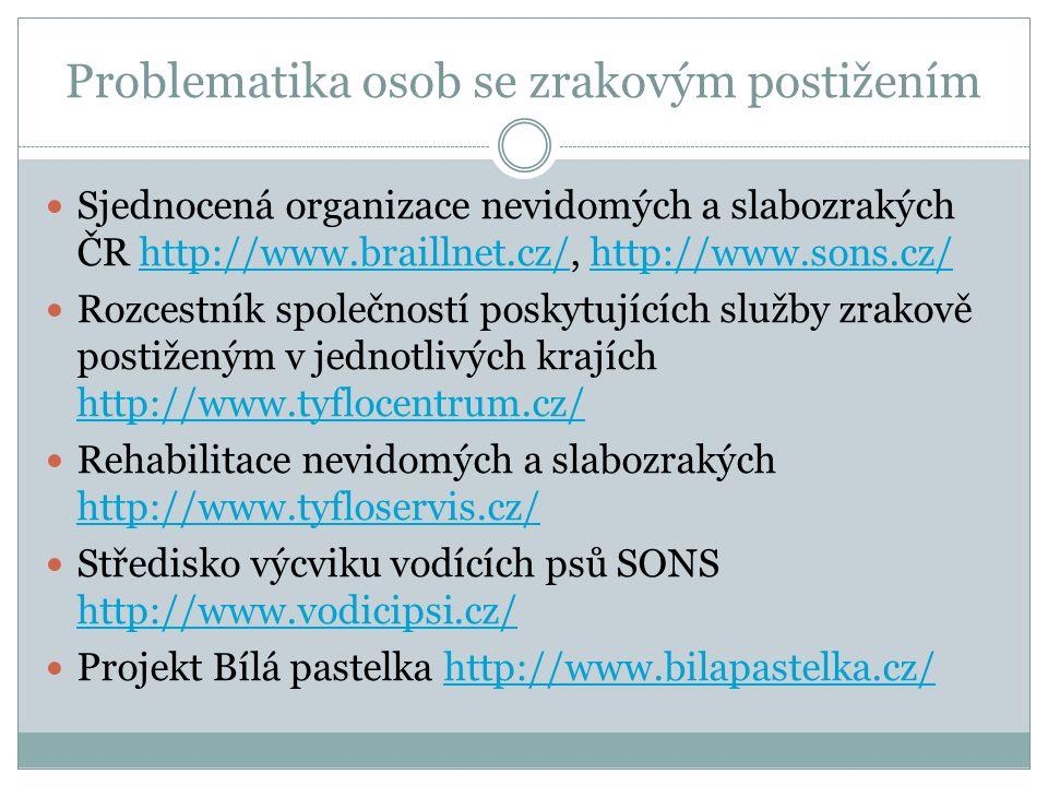 Problematika osob s tělesným postižením Česká federace Spastic Handicap http://www.spastic.cz/cz/uvod/ http://www.spastic.cz/cz/uvod/ Liga vozíčkářů http://www.ligavozic.cz/http://www.ligavozic.cz/