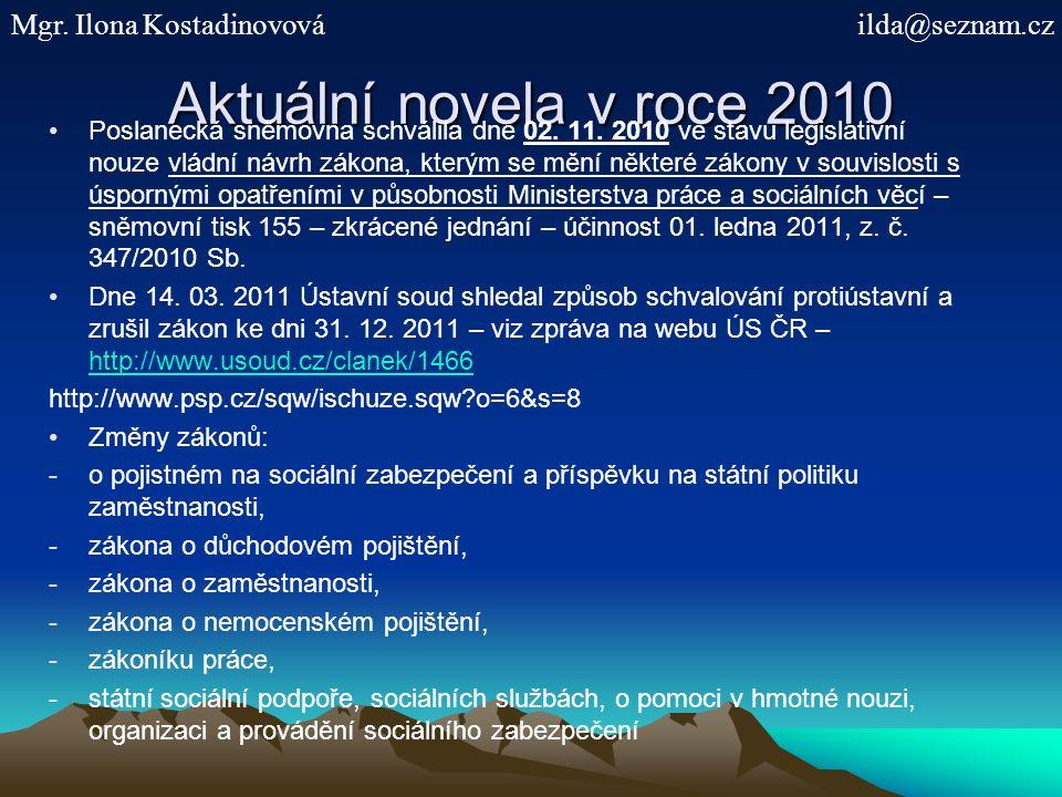 Aktuální novela v roce 2010 Poslanecká sněmovna schválila dne 02.