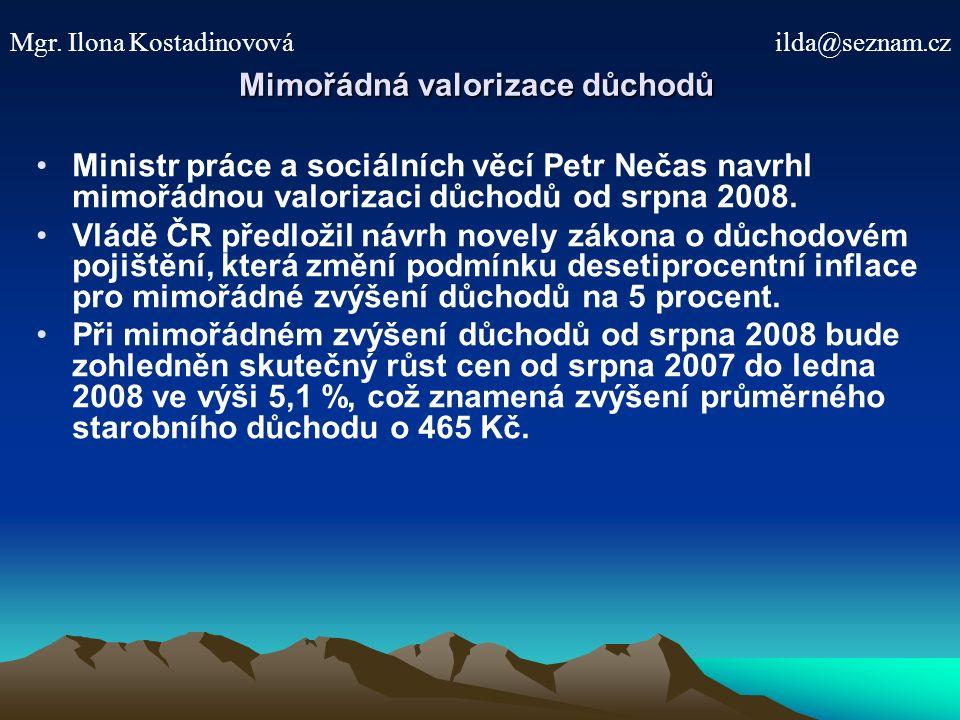 Mimořádná valorizace důchodů Ministr práce a sociálních věcí Petr Nečas navrhl mimořádnou valorizaci důchodů od srpna 2008.