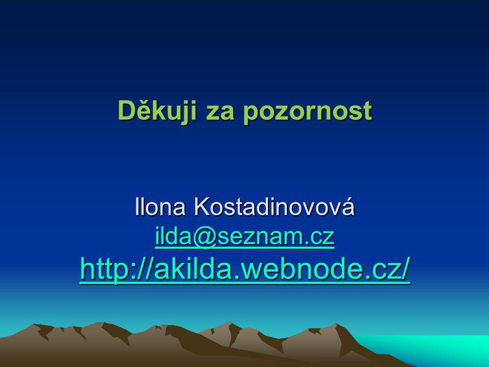 Děkuji za pozornost Ilona Kostadinovová ilda@seznam.cz http://akilda.webnode.cz/ ilda@seznam.cz http://akilda.webnode.cz/ ilda@seznam.cz http://akilda.webnode.cz/