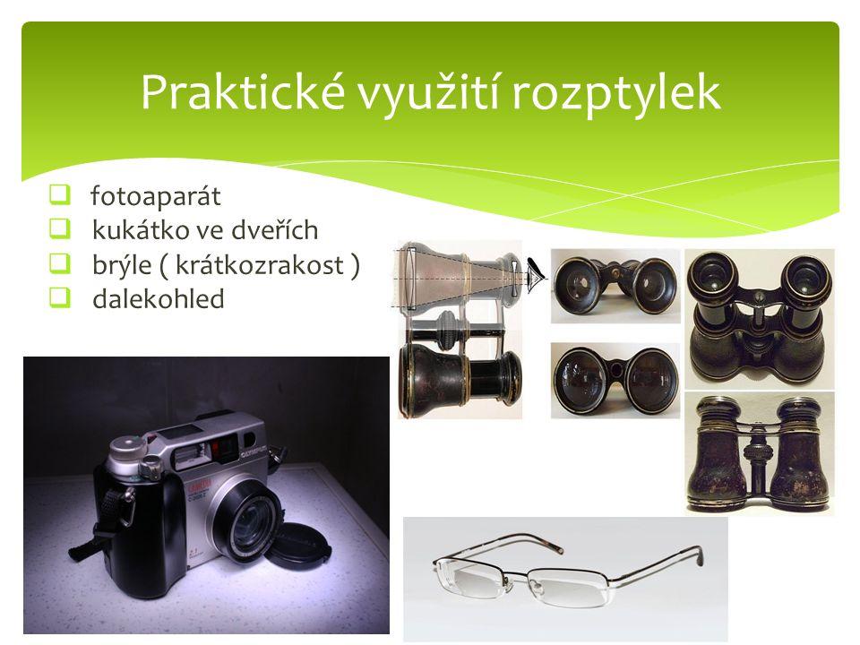  fotoaparát  kukátko ve dveřích  brýle ( krátkozrakost )  dalekohled Praktické využití rozptylek