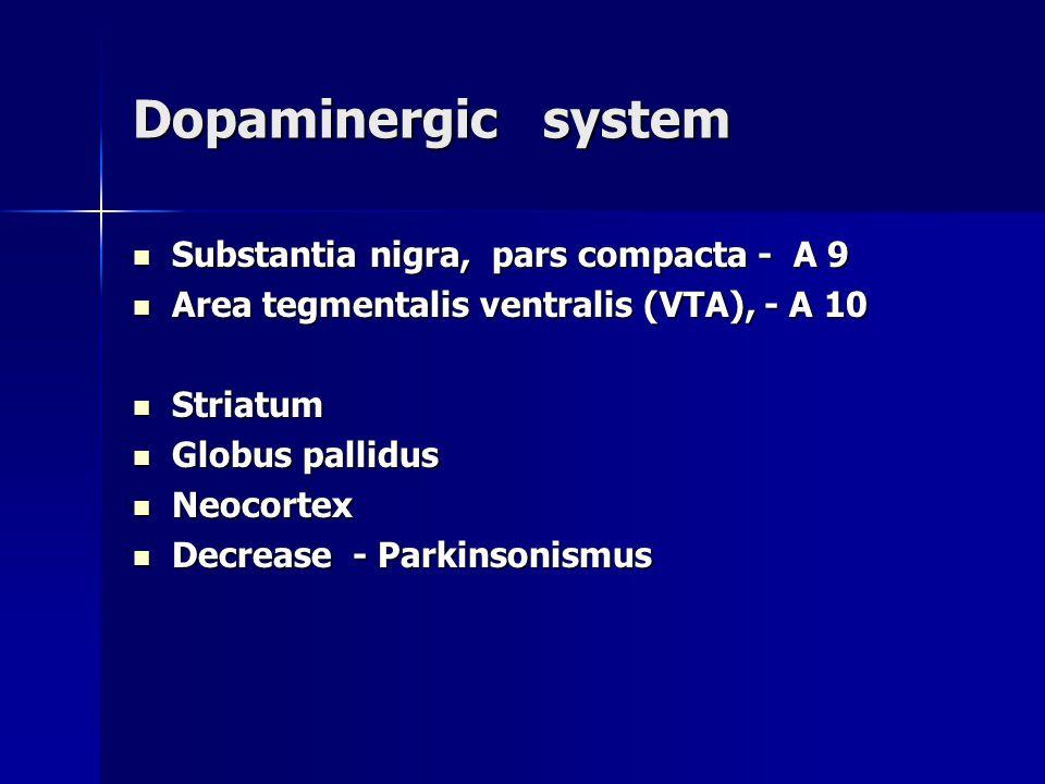 Dopaminergic system Substantia nigra, pars compacta - A 9 Substantia nigra, pars compacta - A 9 Area tegmentalis ventralis (VTA), - A 10 Area tegmenta