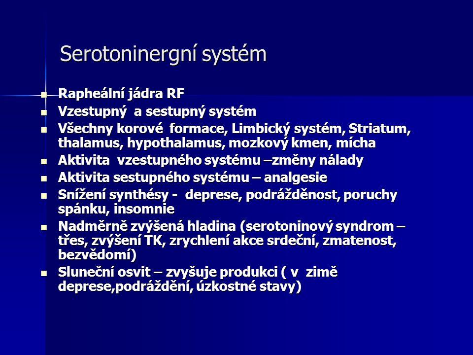 Serotoninergní systém Rapheální jádra RF Rapheální jádra RF Vzestupný a sestupný systém Vzestupný a sestupný systém Všechny korové formace, Limbický s