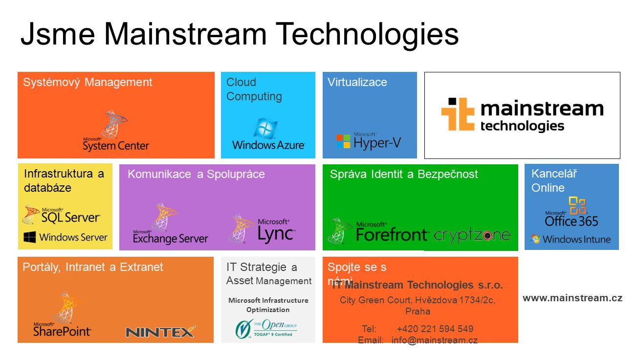 Microsoft Infrastructure Optimization Jsme Mainstream Technologies Systémový Management Infrastruktura a databáze Cloud Computing Virtualizace Kancelá