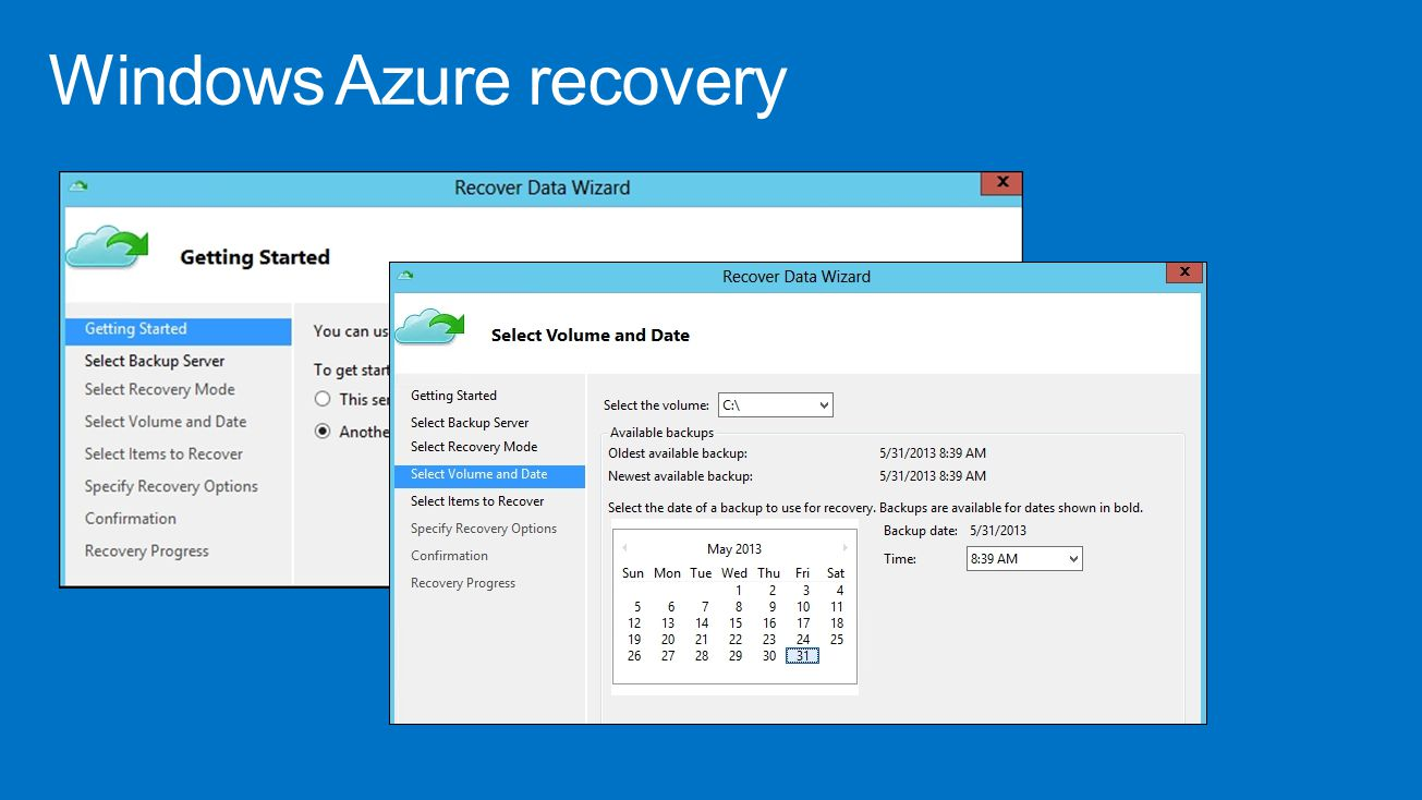 Windows Azure recovery